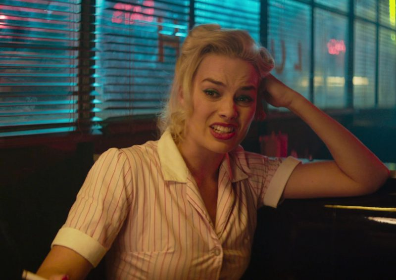 Shirt Dress ('50s Americana-Inspired Collared And Striped Waitress Uniform) Worn by Margot Robbie in Terminal Movie