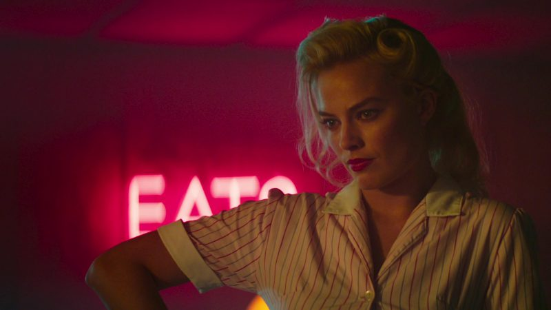 Shirt Dress ('50s Americana-Inspired Collared And Striped Waitress Uniform) Worn by Margot Robbie in Terminal - Movie Outfits and Products
