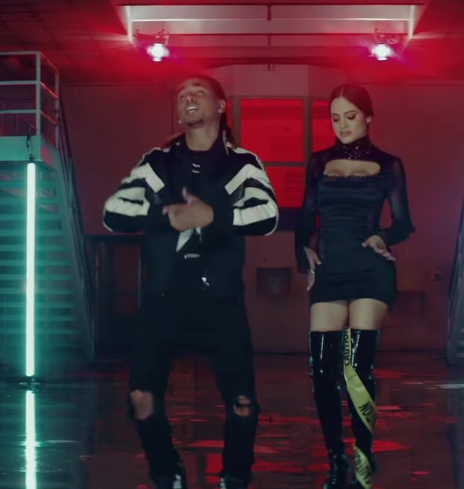 "Bodycon Dress and Over-the-Knee Boots Worn by Natti Natasha in ""Criminal"" ft. Ozuna Official Music Video"