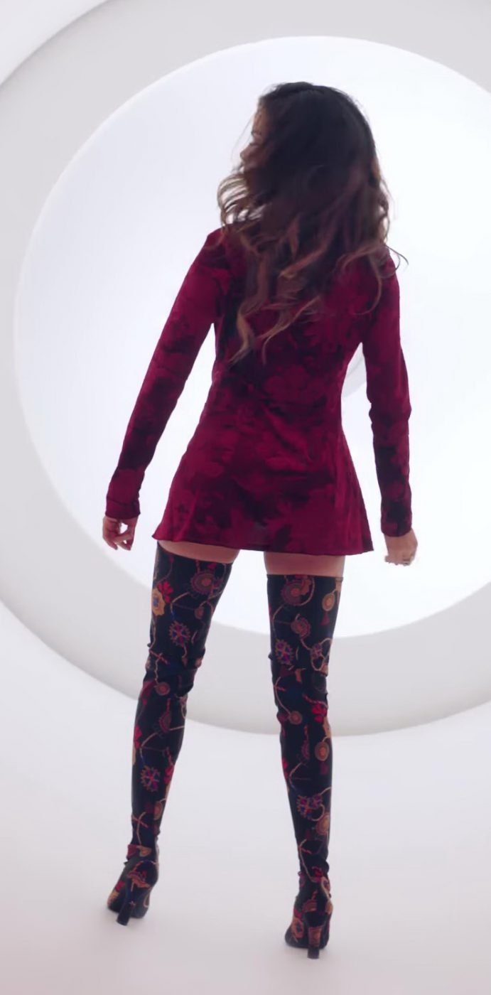 Coat Dress and Over-the-Knee Boots Worn by Model in X (EQUIS) by Nicky Jam ft. J. Balvin Official Music Video - Youtube Outfits and Products
