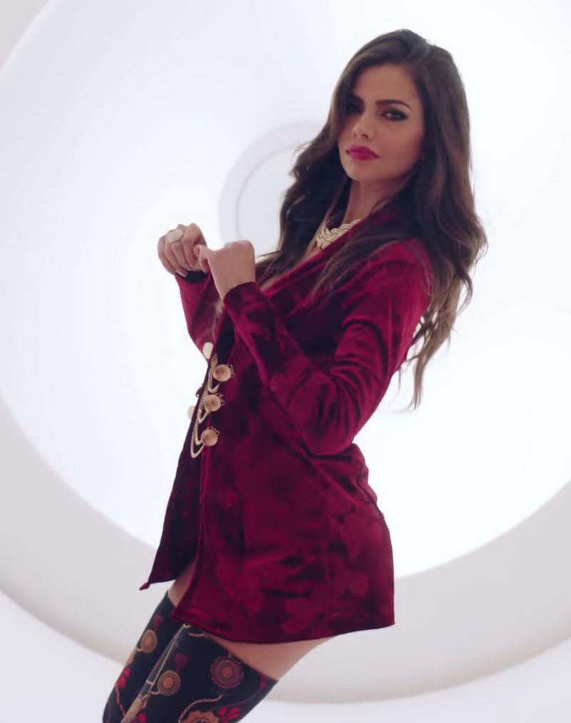 Coat Dress and Over-the-Knee Boots Worn by Model in X (EQUIS) by Nicky Jam ft. J. Balvin Official Music Video