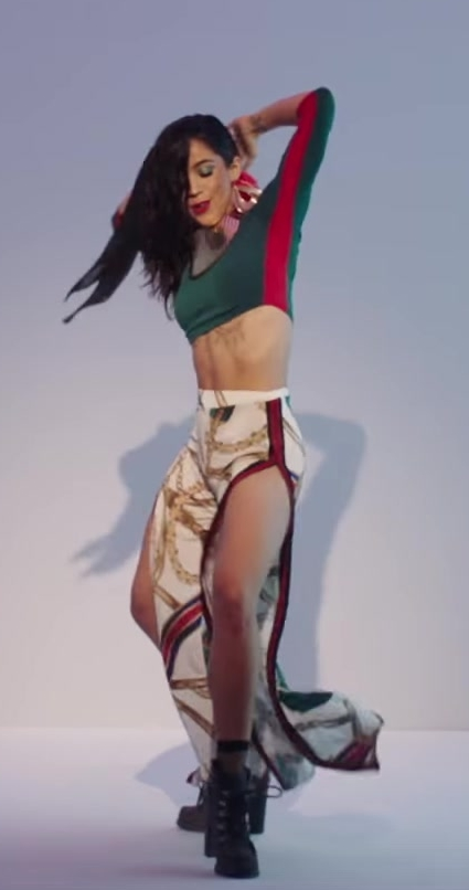 Crop Top and Skirt Worn by Model in X (EQUIS) by Nicky Jam ft. J. Balvin Official Music Video