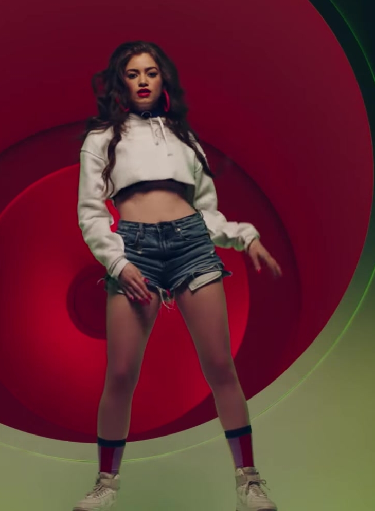 Cropped Hoodie and Denim Shorts Worn by Model in X (EQUIS) by Nicky Jam ft. J. Balvin Official Music Video - Youtube Outfits and Products