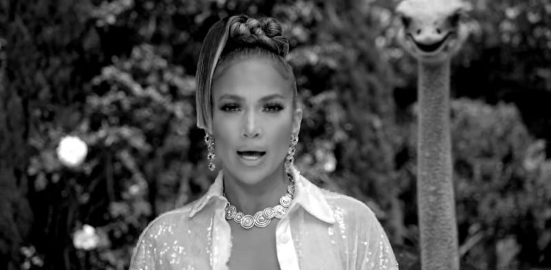 """Fashion Trends 2021: Gold Necklace and Earrings Worn by Jennifer Lopez in """"Dinero"""" Official Music Video"""
