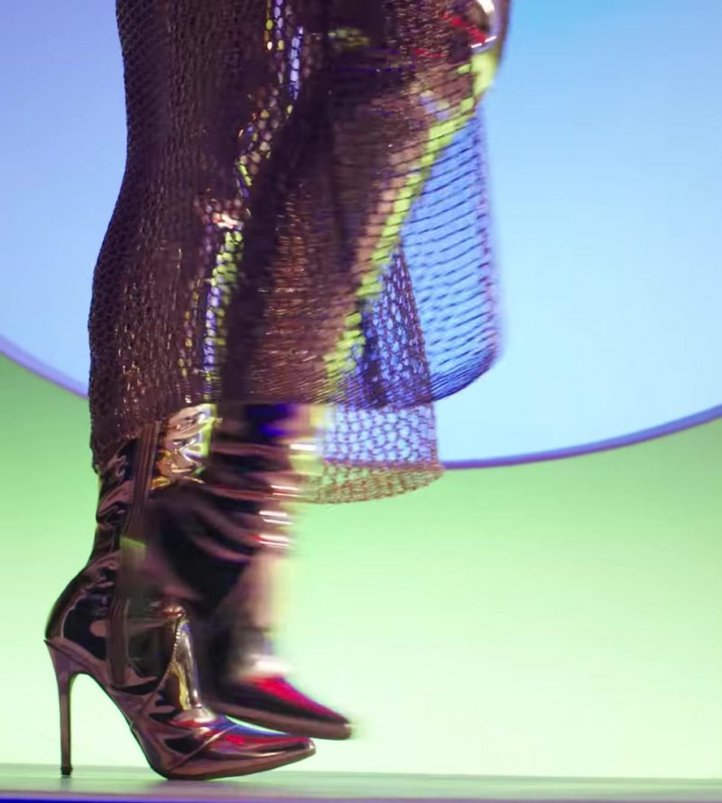 Fashion Trends 2021: Gold Over-the-Knee Boots Worn by Model in X (EQUIS) by Nicky Jam ft. J. Balvin Official Music Video