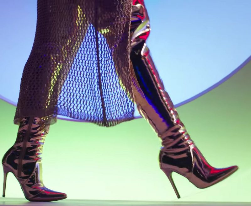 Gold Over-the-Knee Boots Worn by Model in X (EQUIS) by Nicky Jam ft. J. Balvin Official Music Video - Female Fashion