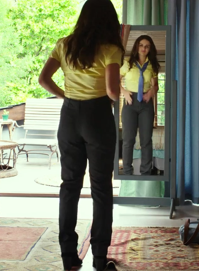 Fashion Trends 2021: Grey Pants and Yellow Shirt Worn by Joey King in The Kissing Booth
