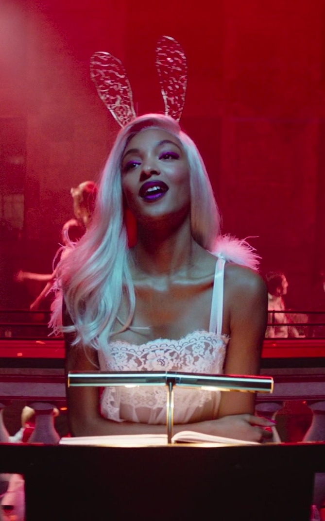 Lace Dress and Bunny Ears Worn by Model Jourdan Dunn in Terminal Movie - Female Fashion