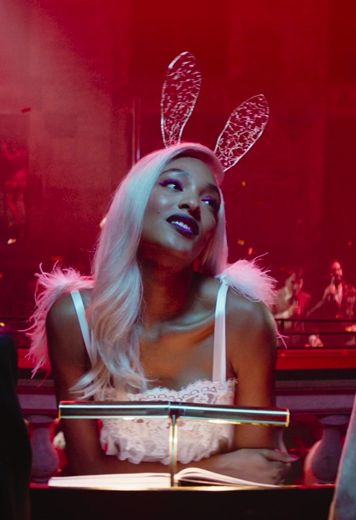 Fashion Trends 2021: Lace Dress and Bunny Ears Worn by Model Jourdan Dunn in Terminal