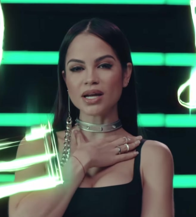 "Leather Choker Necklace Worn by Natti Natasha in ""Criminal"" ft. Ozuna Official Music Video - Youtube Outfits and Products"