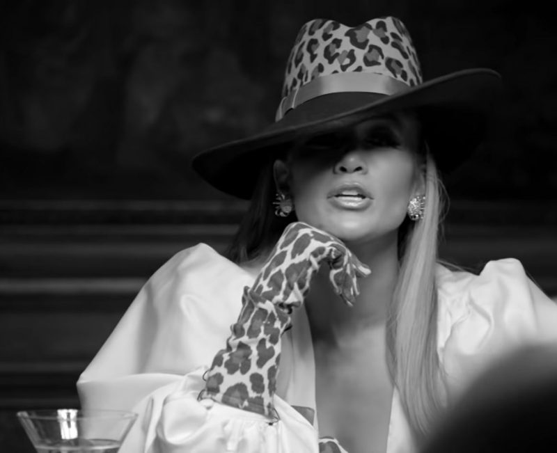 "Leopard Hat and Long Gloves Worn by Jennifer Lopez in ""Dinero"" Music Video"