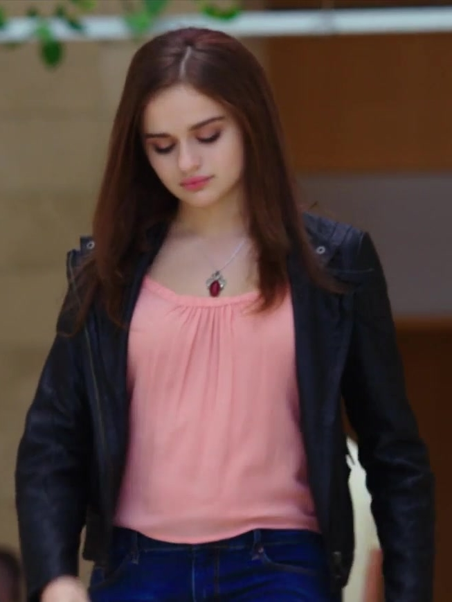 Pink Blouse and Leather Biker Jacket Worn by Joey King in The Kissing Booth - Movie Outfits and Products
