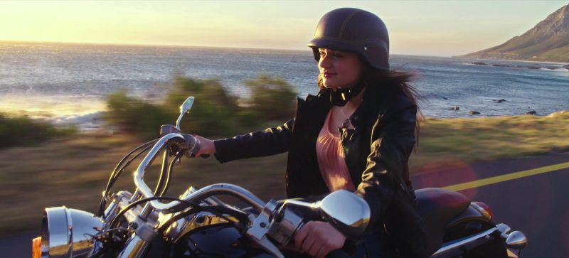 Fashion Trends 2021: Pink Blouse and Leather Biker Jacket Worn by Joey King in The Kissing Booth