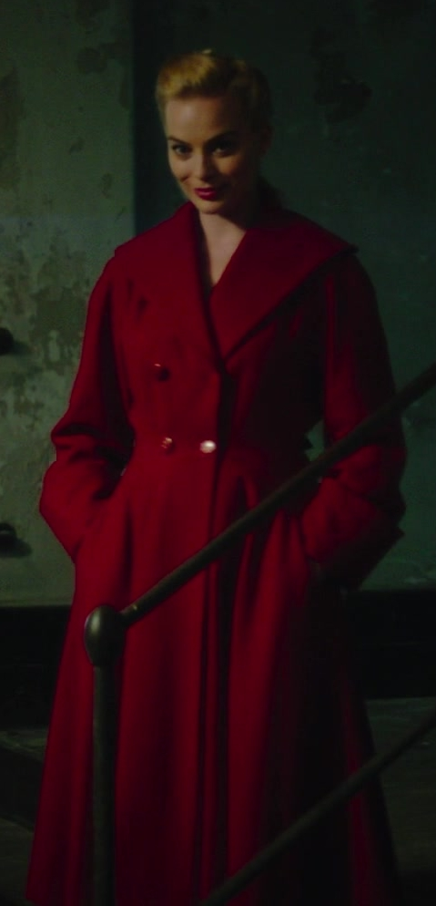 Red Coat Worn by Margot Robbie in Terminal Movie - Female Fashion