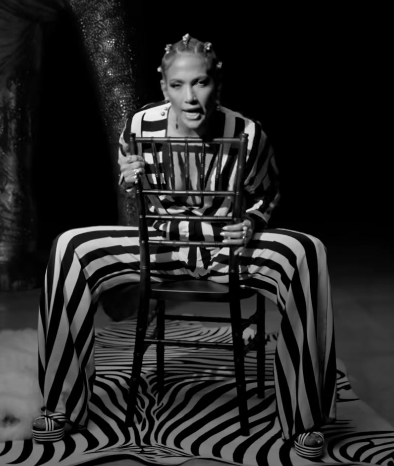 "Striped Long Sleeve Jumpsuit Worn by Jennifer Lopez in ""Dinero"" Music Video"