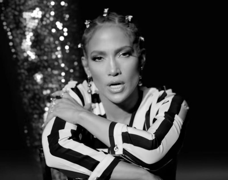 """Striped Long Sleeve Jumpsuit Worn by Jennifer Lopez in """"Dinero"""" Music Video - Youtube Outfits and Products"""
