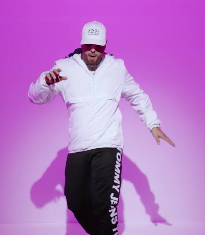 Tommy Jeans White Hoodie, Black Pants and KINGS BRED Cap Worn by Nicky Jam in X (EQUIS) ft. J Balvin Official Music Video
