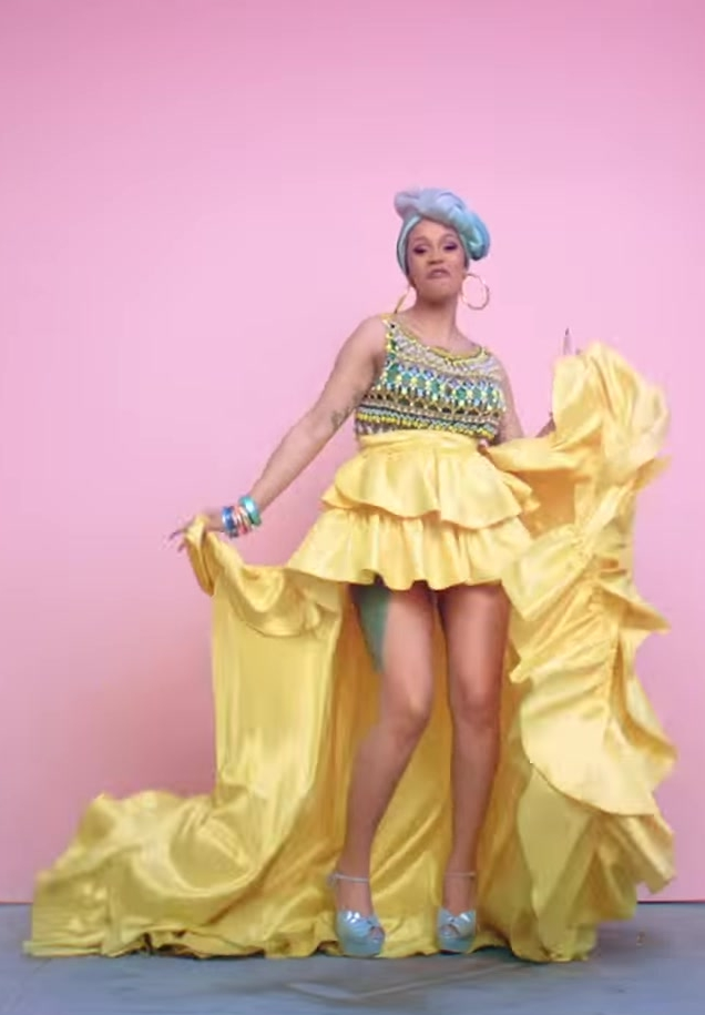 "Traditional Cuban Head Wrap and Yellow Skirt Worn by Cardi B in ""I Like It"" Music Video"