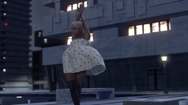 White Dress and Over-the-Knee Boots Worn by Ariana Grande in No Tears Left To Cry Music Video - Female Fashion Outfits and Products