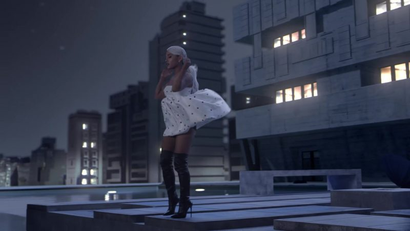 White Dress and Over-the-Knee Boots Worn by Ariana Grande in No Tears Left To Cry Music Video - Youtube Outfits and Products