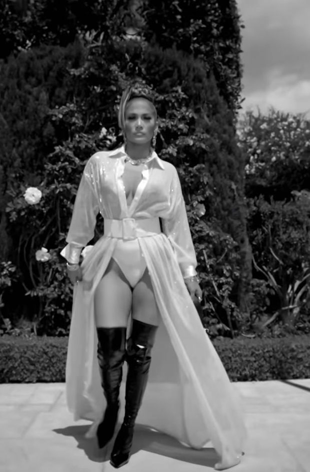 "White Dress and Over-the-Knee Boots Worn by Jennifer Lopez in ""Dinero"" Official Music Video - Youtube Outfits and Products"