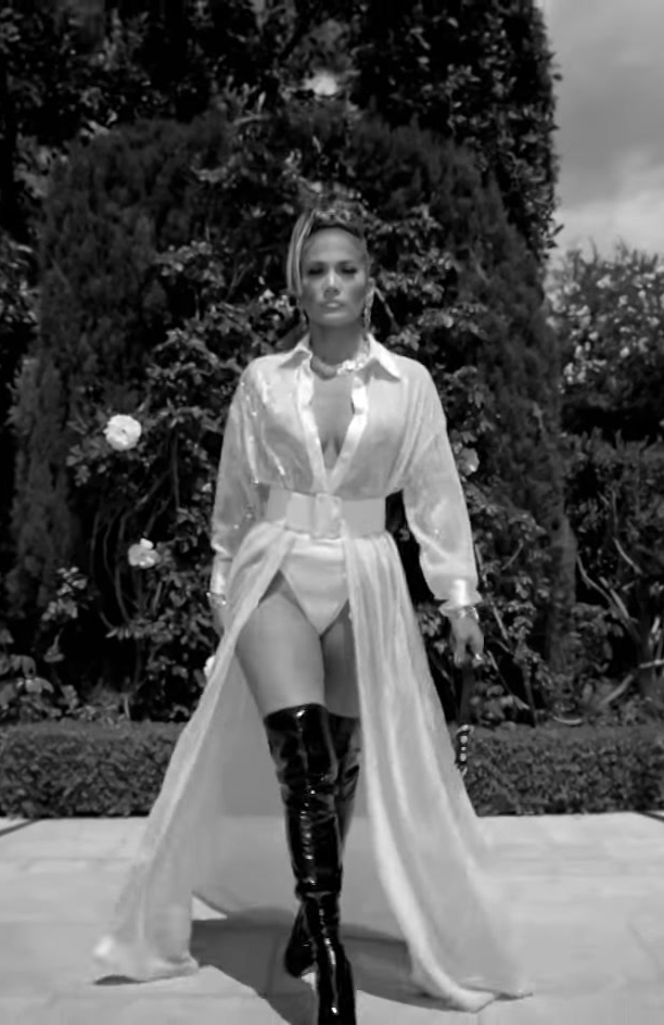 "White Dress and Over-the-Knee Boots Worn by Jennifer Lopez in ""Dinero"" Official Music Video"