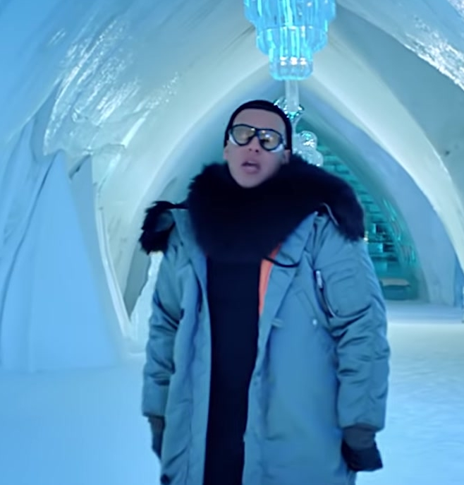 Puffer Coat Worn by Daddy Yankee in Hielo Official Music Video - Male Fashion