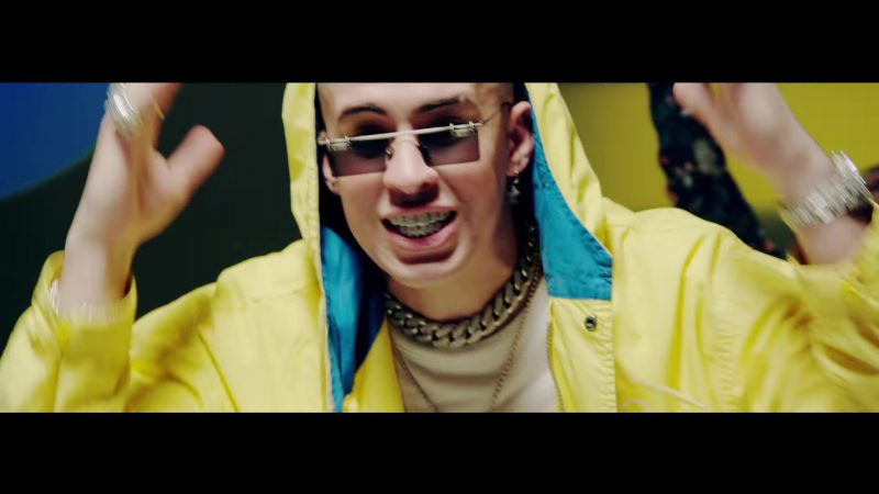 Yellow Jacket and Square Sunglasses in Te Bote Remix by Casper, Nio García, Darell, Nicky Jam, Bad Bunny, Ozuna Music Video - Youtube Outfits and Products