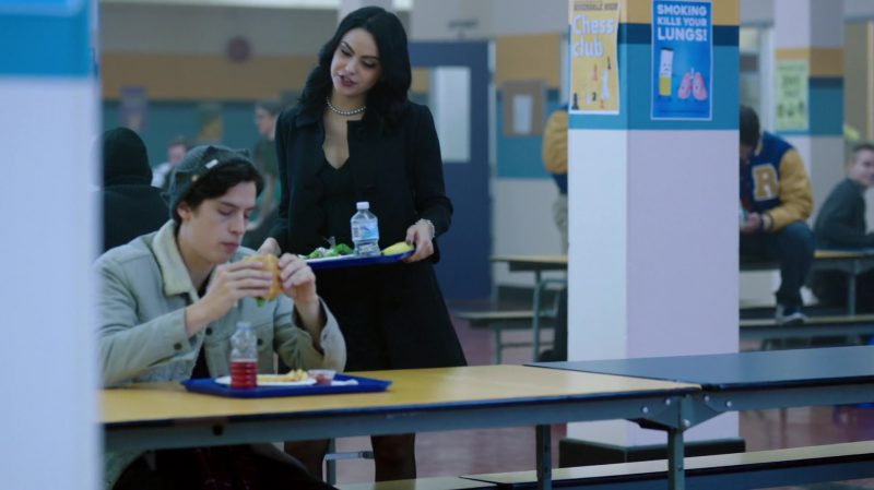 "Black Coat and Green Lace Dress Worn by Camila Mendes in ""Riverdale"" TV Show"