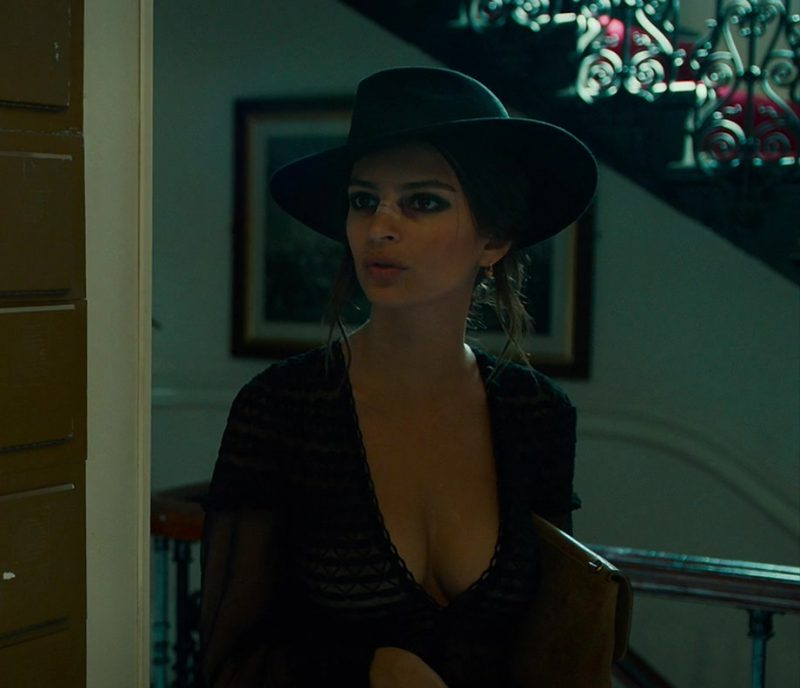 """Fashion Trends 2021: Black Lace Blouse and Hat Worn by Emily Ratajkowski (""""In Darkness"""")"""