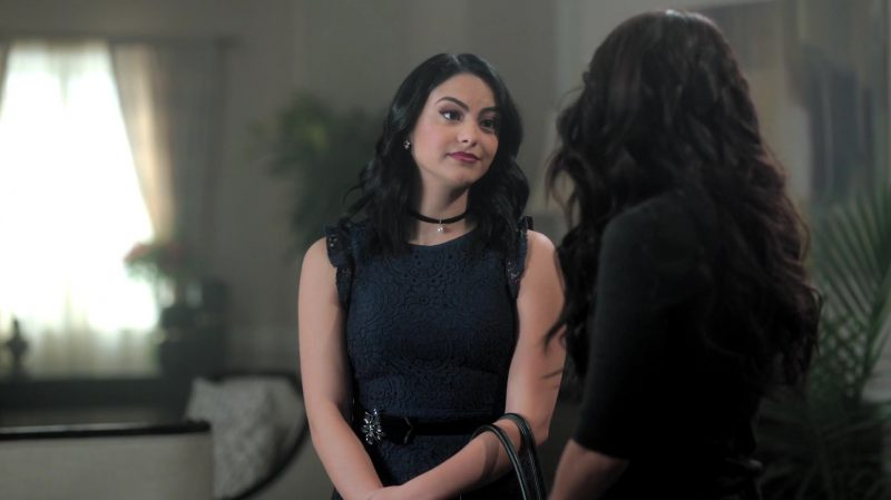 """Black Lace Dress And Choker With Pearl Worn by Camila Mendes in """"Riverdale"""" TV Show"""