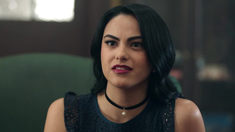 """Black Lace Dress And Choker With Pearl Worn by Camila Mendes in """"Riverdale"""" - TV Show Outfits and Products"""