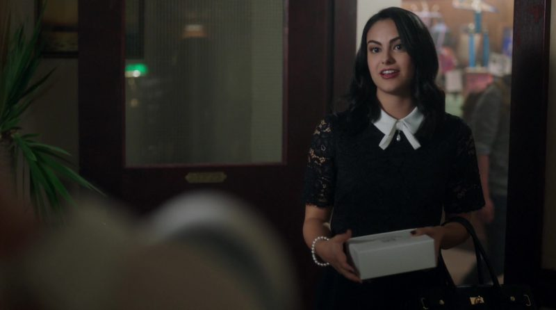 """Black Lace Dress with White Collar Worn by Camila Mendes in """"Riverdale"""" - TV Show Outfits and Products"""