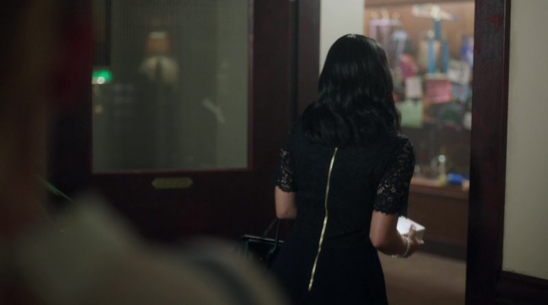 "Black Lace Dress with White Collar Worn by Camila Mendes in ""Riverdale"" TV Show"