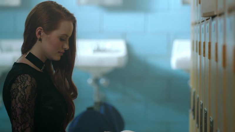"""Black Lace Top and Choker Worn by Madelaine Petsch in """"Riverdale"""" - TV Show Outfits and Products"""