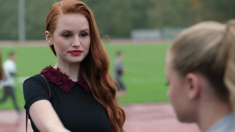 "Black Short Sleeve Dress With Red Floral Collar Worn by Madelaine Petsch in ""Riverdale"" TV Show"