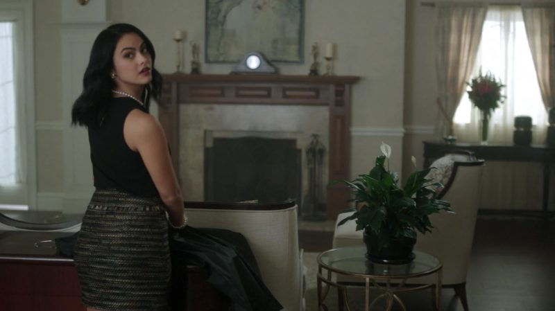 """Fashion Trends 2021: Black Top and Patterned Skirt  Worn by Camila Mendes in """"Riverdale"""""""