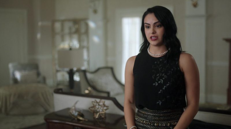 "Black Top and Patterned Skirt  Worn by Camila Mendes in ""Riverdale"" TV Show - Female Fashion Outfits and Products"