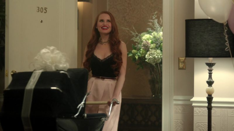 "Black Top and Pink Skirt Worn by Madelaine Petsch in ""Riverdale"" TV Show - Female Fashion Outfits and Products"