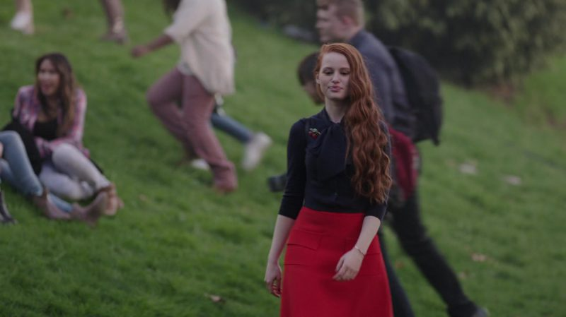 """Black Top and Red Skirt Worn by Madelaine Petsch in """"Riverdale"""" - TV Show Outfits and Products"""