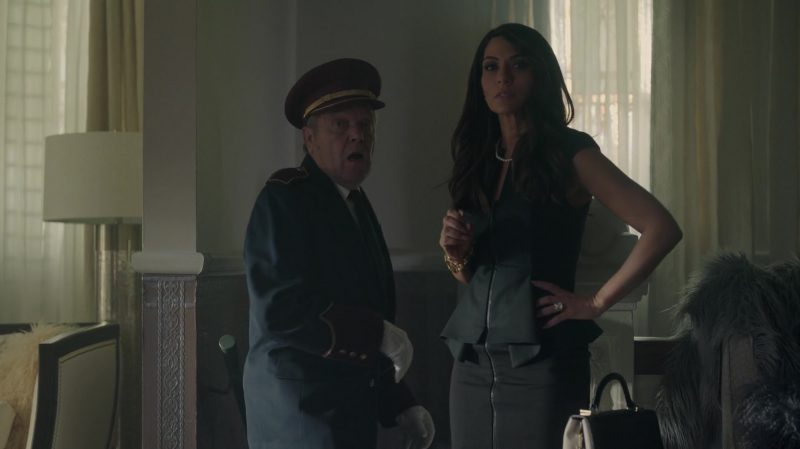 """Black Zip-Front Peplum Dress Worn by Marisol Nichols in """"Riverdale"""" - TV Show Outfits and Products"""