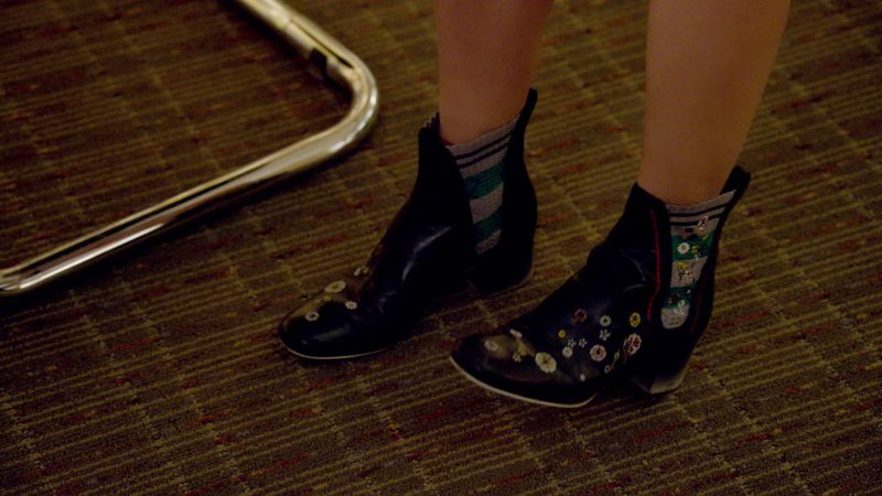 "Floral Block Heel Ankle Boots Worn by Sutton Foster in ""Younger"" TV Show"