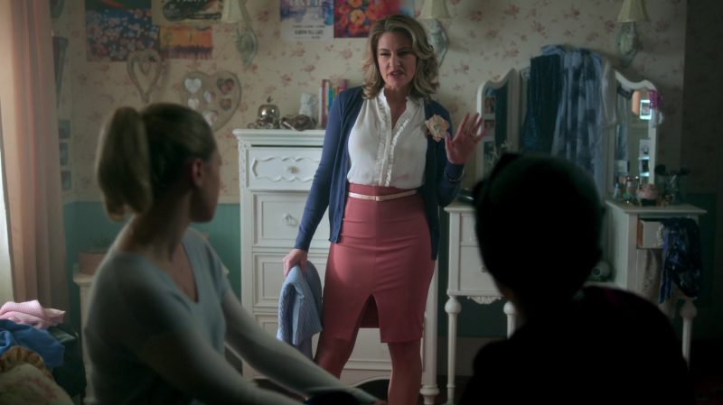 "Blue Cardigan, Ruffle Blouse and Skirt With Belt Worn by Mädchen Amick in ""Riverdale"" TV Show"