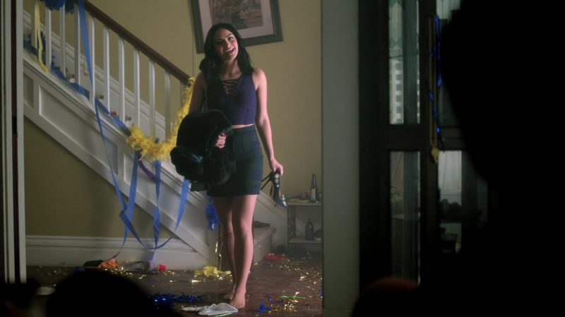 "Blue Crop Top and Plaid Skirt Worn by Camila Mendes in ""Riverdale"" TV Show"