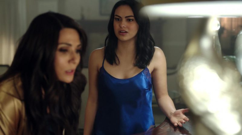 "Female  Celebrity Style:  Blue Nightgown Worn by Camila Mendes in ""Riverdale"" TV Show"
