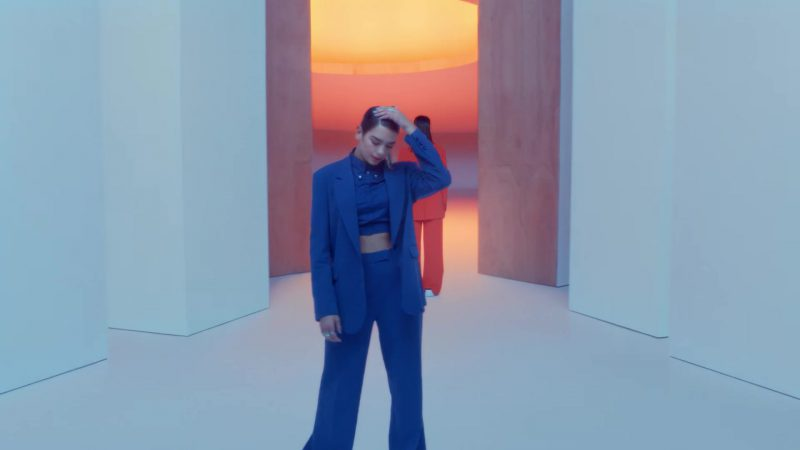 """Blue Pant Suits in """"IDGAF"""" Music Video by Dua Lipa - Female Fashion Outfits and Products"""
