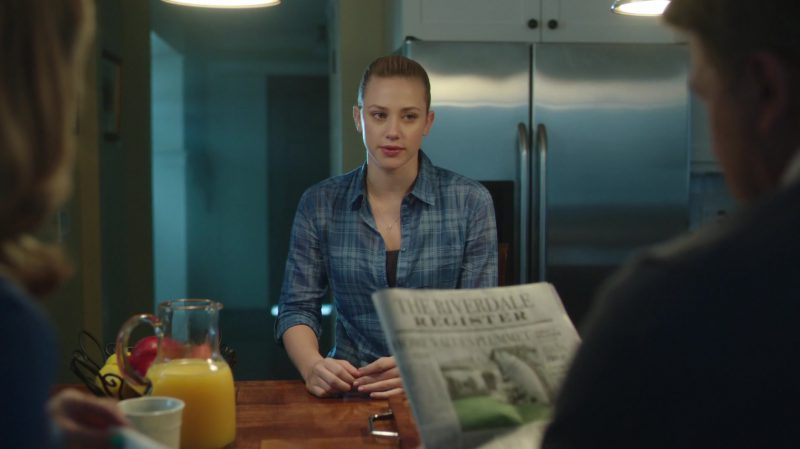 """Blue Plaid Shirt Worn by Lili Reinhart in """"Riverdale"""" - TV Show Outfits and Products"""