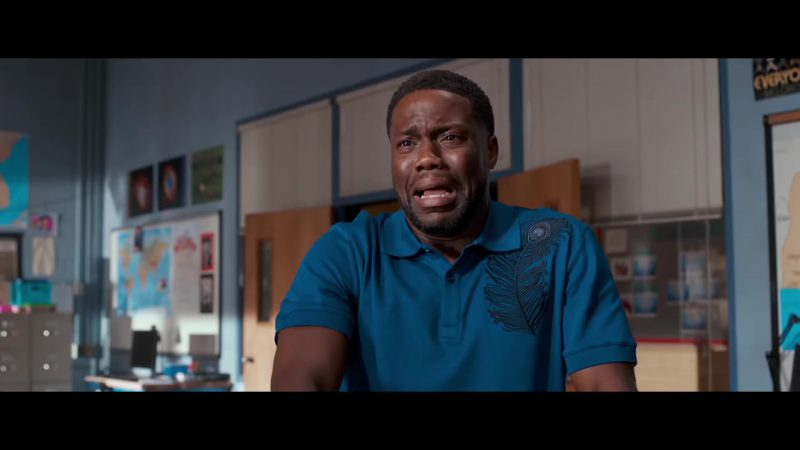 "Blue Polo Shirt With A Feather Worn by Kevin Hart in ""Night School"" Movie"