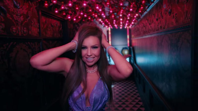 "Blue Sequin Dress Worn by Thalía in ""No Me Acuerdo"" Music Video"
