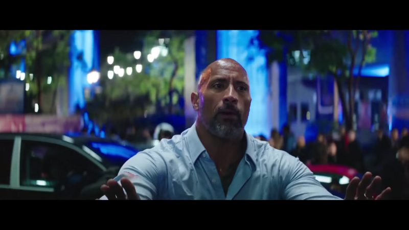 "Blue Shirt Worn by Dwayne Johnson (The Rock) in ""Skyscraper"" Movie - Male Fashion"